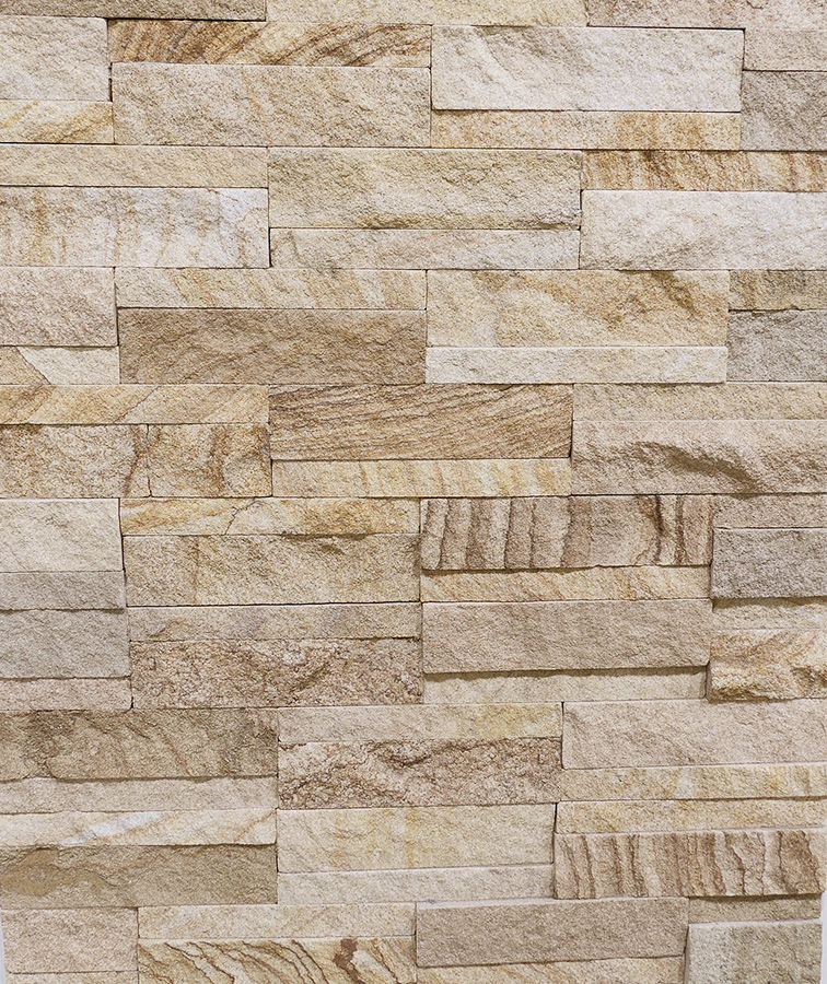 White & Grey Stack Stone Feature Wall