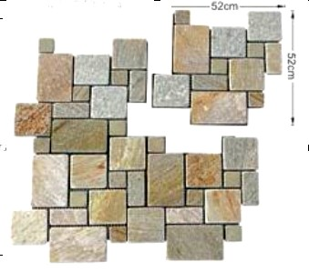 Quartz Crazy Paving on Mesh, French Pattern Mesh Paving, Ashlar Pattern Mesh Paving
