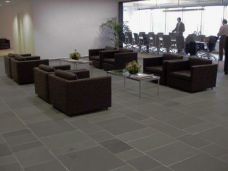 Honed Bluestone Tiles in a commercial setting