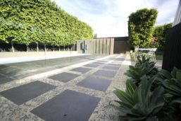 Bluestone Pavers shown as stepping stone format for this outdoor pathway