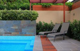 Bluestone Pavers in french pattern with Bluestone pool coping