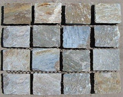 Yellow Cobble Stone Pavers On Mesh Sheets For Driveways