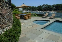 Ashlar Pattern Pool Pavers with matching Pool Coping