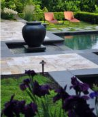 Bluestone rebated Pool Coping with Modular Pattern Sandstone paving