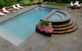 Modular Slate pool pavers with Bluestone pool coping