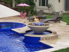 Ivory Travertine 'non-slip' French pattern Pool Paving and Pool Coping