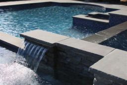 Bluestone Square Edge Pool Coping with Ledgestone feature walls