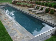 Bluestone Pool Coping with Grey Quartz Crazy Paving