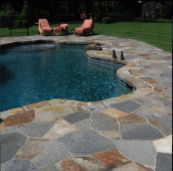 Grey Quartz Crazy Paving with Enhancing Sealer used as Pool Coping and Paving