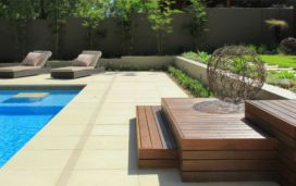 Golden Mint Honed Sandstone Pool Coping and Paved Pool Area