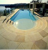 Yellow Limestone Pool Coping, Pool Paving and Stair case
