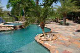 Rustic Slate Pool Paving and Pool Coping