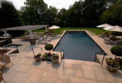 Ashlar Pattern Pool Paving with matching Pool Coping