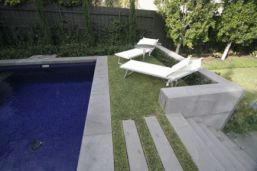 Bluestone Pool Coping with matching staircase and retaining wall