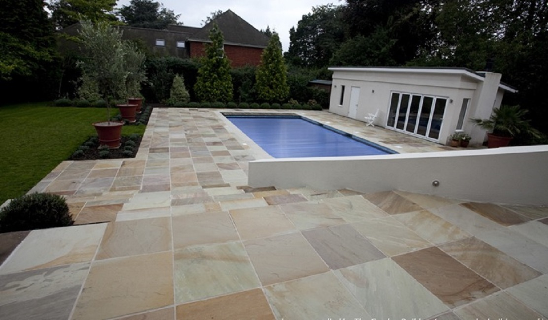 how to clean sandstone pavers around pool