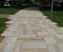 Sandstone Pavers laid in french pattern on a pathway
