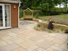 Himalayan Sandstone Pavers in a modula pattern in a outdoor area