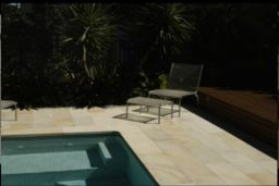 Pool paving and pool coping pavers in Natural split Sandstone