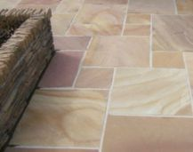 Himalayan Internal sandstone floor tiles laid in a french pattern