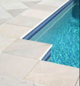 Shotblasted Sandstone Pavers and pool square edge coping