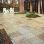 Natural split Sandstone Paving has been laid in this outdoor area