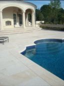 Shotblasted Sandstone Paving and square edge pool coping pavers