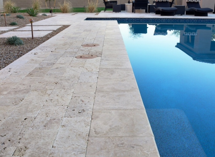 Ivory Travertine Drop Face Pool Coping